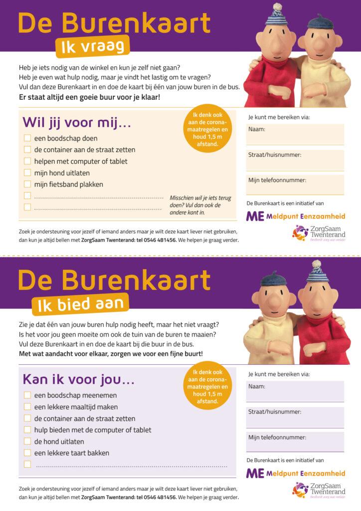 De Burenkaart is een initiatief van Meldpunt Eenzaamheid van Zorgsaam Twenterand.